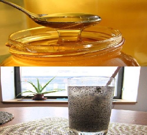 hạt chia với mật ong